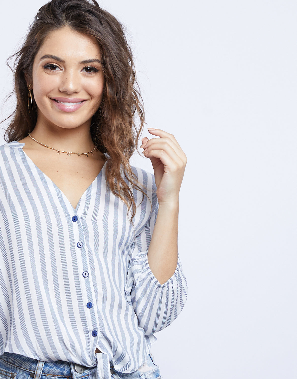 Ocean Waves Striped Blouse