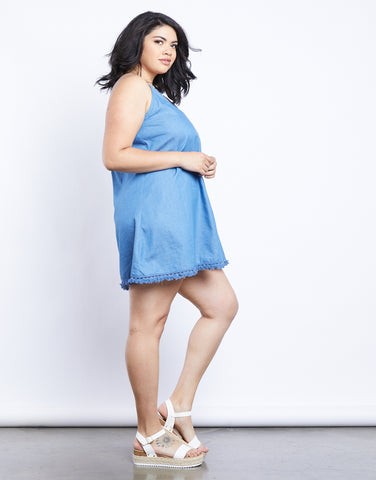 Plus Size Olivia Blue Chambray Dress