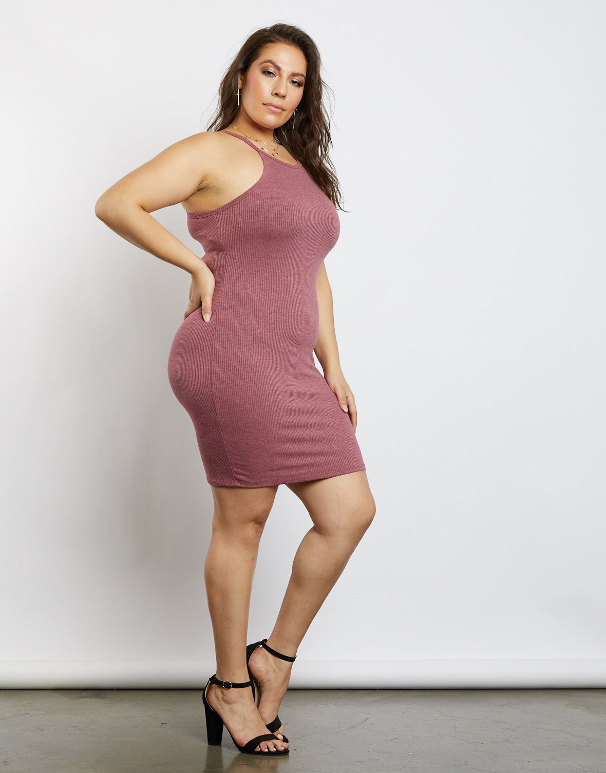 Plus Size Olivia Ribbed High Neck Dress