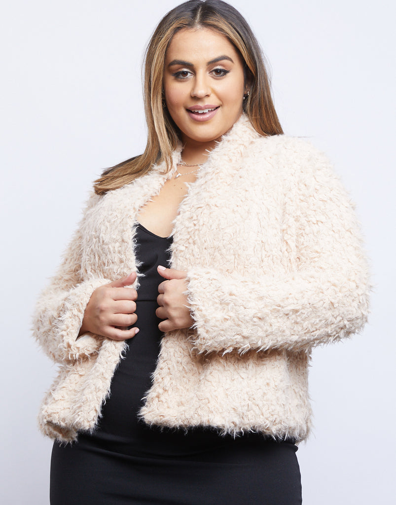 Curve On Cloud Nine Fuzzy Jacket Plus Size Outerwear Ivory 1XL -2020AVE