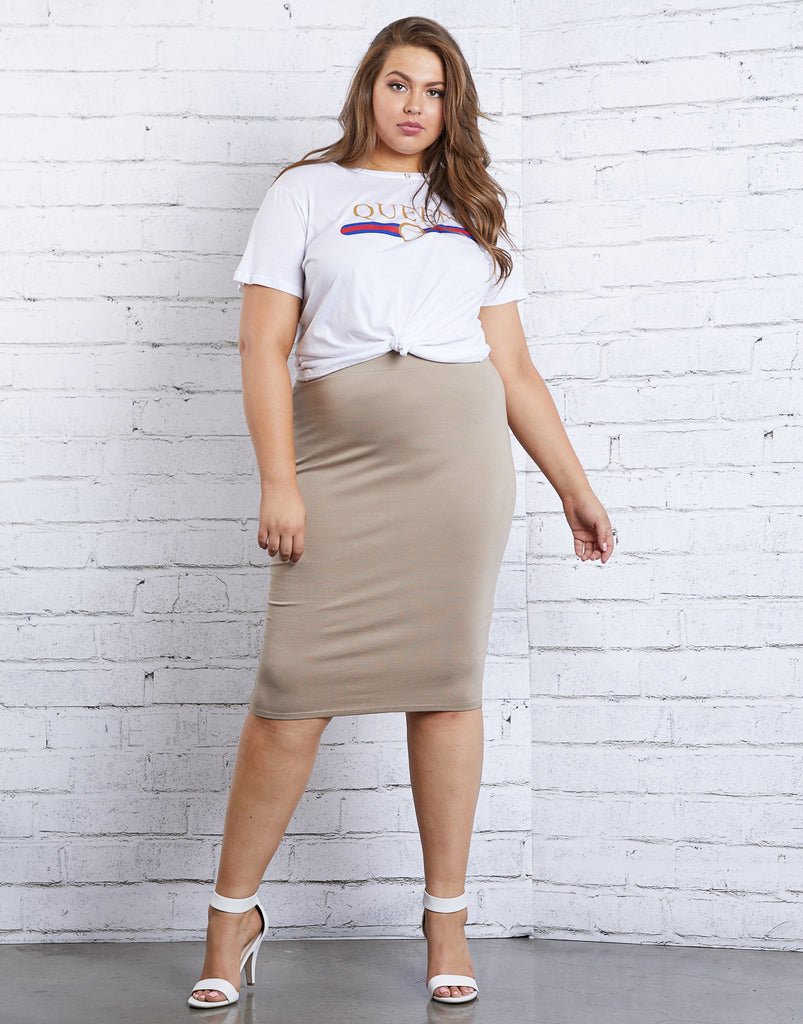 Curve On Repeat Bodycon Skirt Plus Size Bottoms -2020AVE