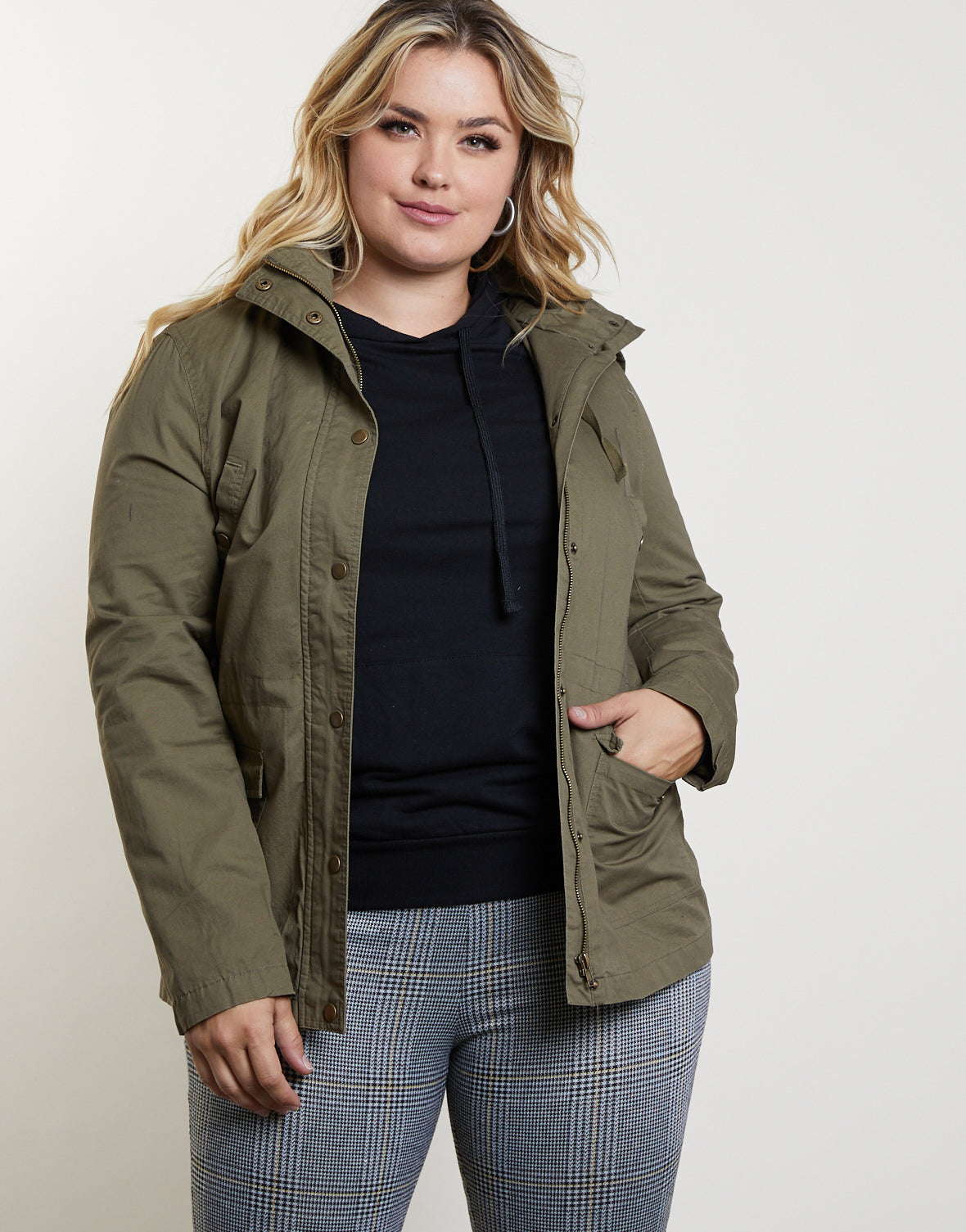 Plus Size Parka Jacket