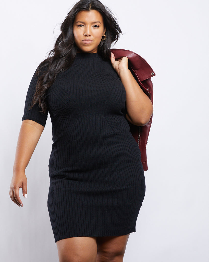 Curve Phoebe Sweater Dress Plus Size Dresses Black 1XL -2020AVE