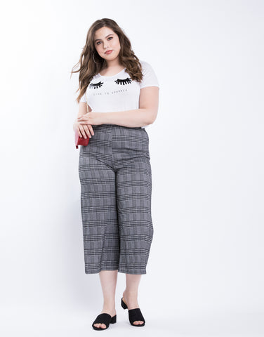 Plus Size Plaid Cropped Pants