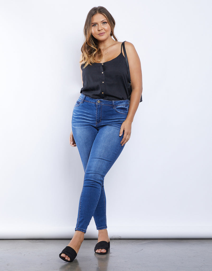 Curve Plain And Simple Jeans Plus Size Bottoms -2020AVE