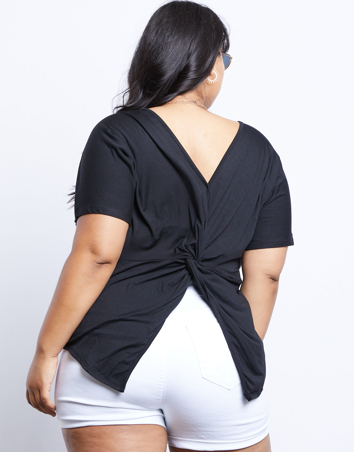 Plus Size Plain and Simple Twist Back Tee
