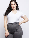 Plus Size Plain and Simple V-neck Tee