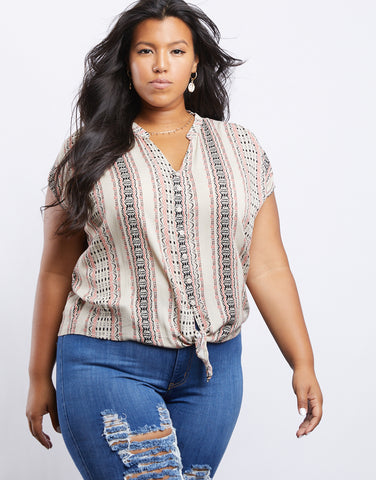 Plus Size Rachel Tribal Print Top
