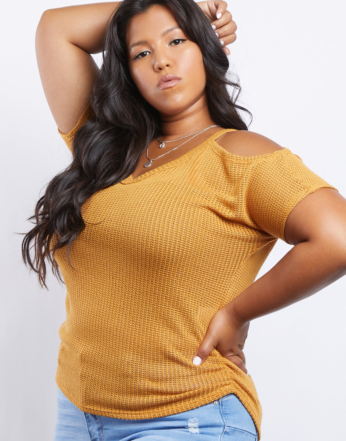Plus Size Renee Cold Shoulder Knit Top