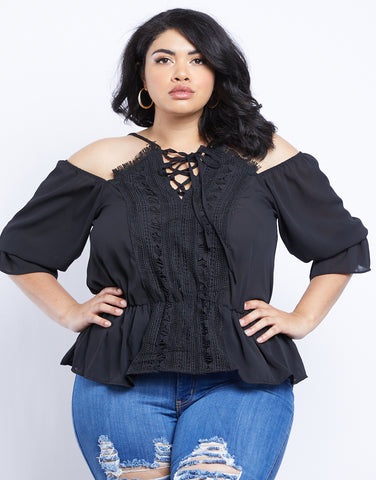 Plus Size Renee Crochet Detail Open Shoulder Top