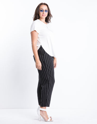 Plus Size Ribbed Side Slit Top