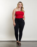 Plus Size Ridged Moto Jeans