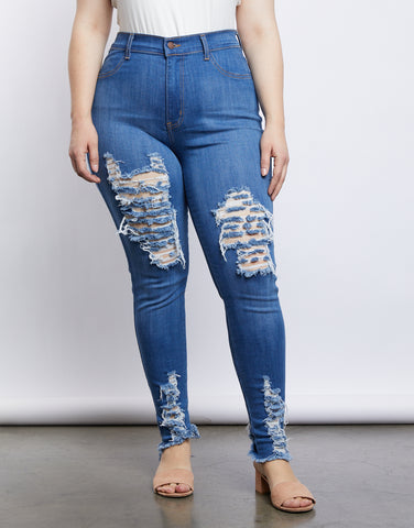 Plus Size Ripped Blue Jeans