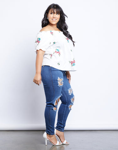 Plus Size Rosie Embroidered Off the Shoulder Top