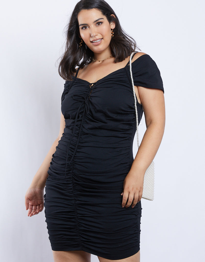 Curve Ruched Daydreamer Dress Plus Size Dresses Black 1XL -2020AVE
