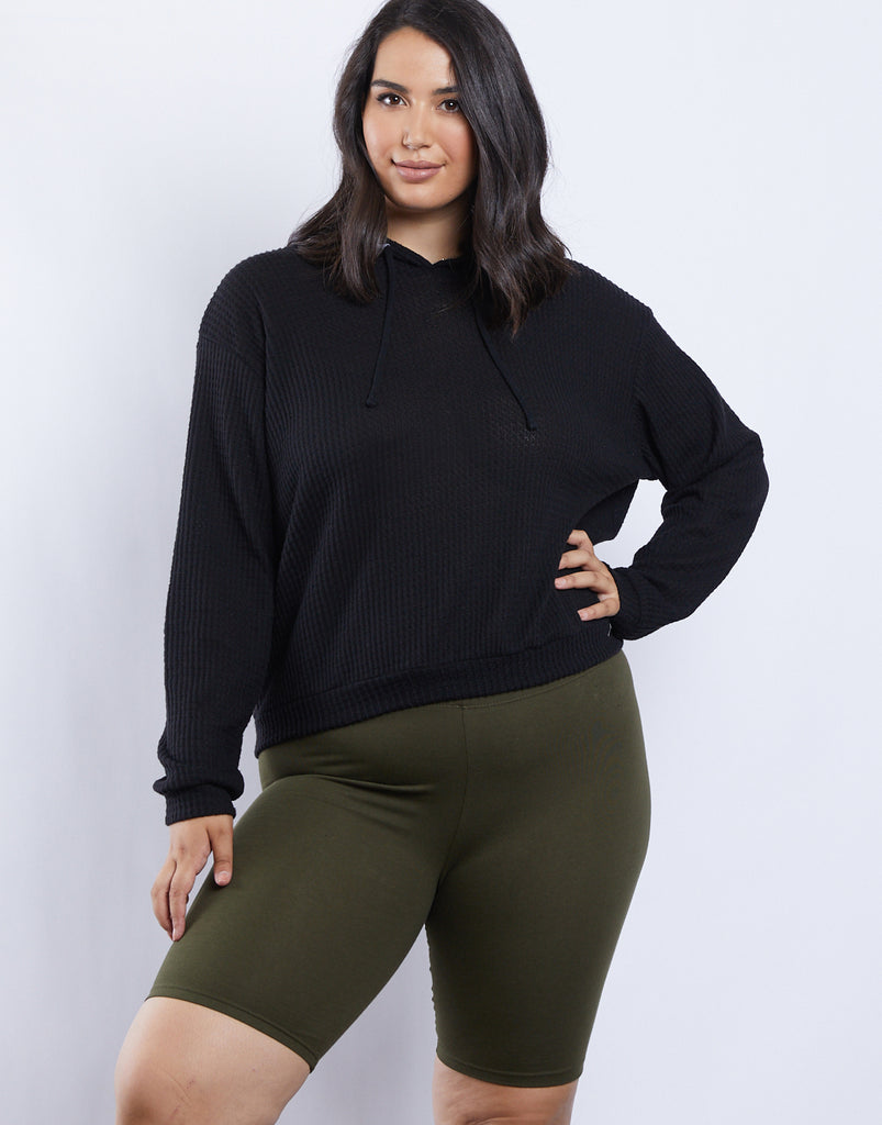 Curve Sarah Waffle Knit Hoodie Plus Size Tops Black 1XL -2020AVE