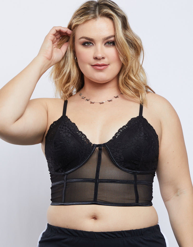 Curve Sheer Floral Bralette Plus Size Intimates Black 1XL -2020AVE