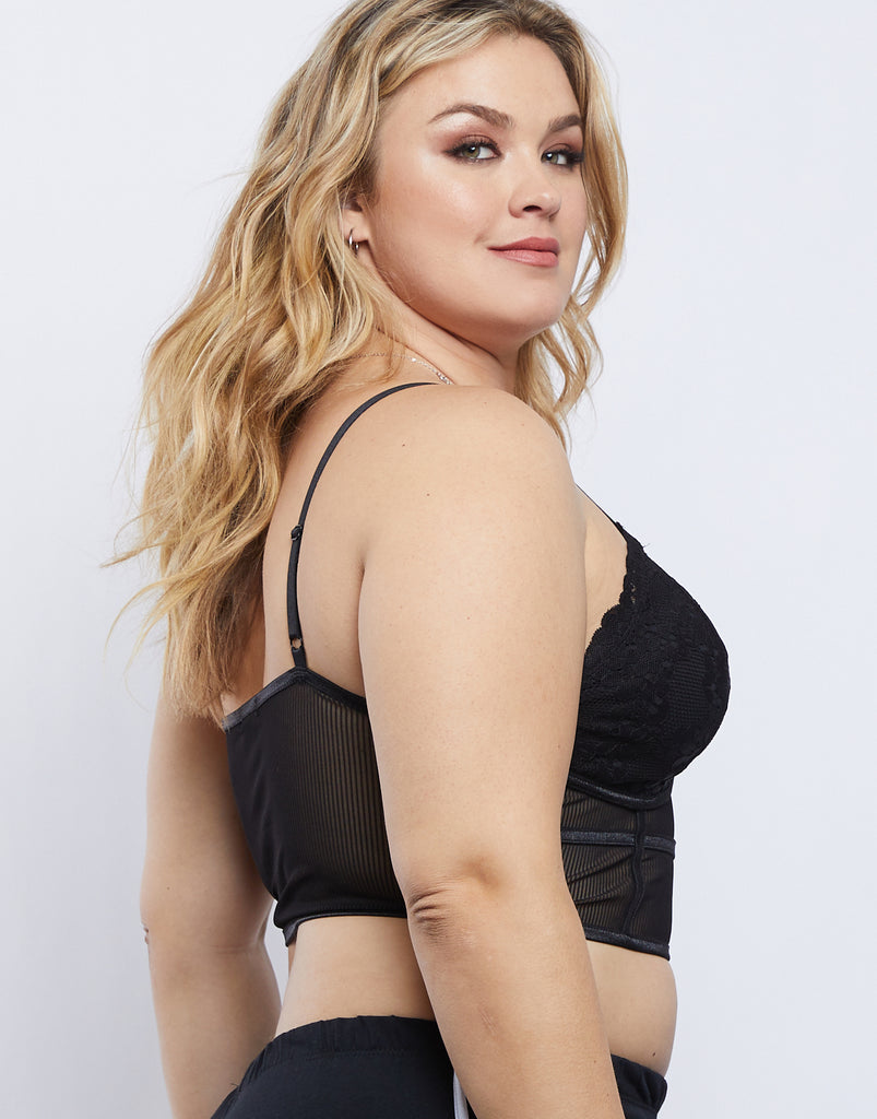 Curve Sheer Floral Bralette Plus Size Intimates -2020AVE