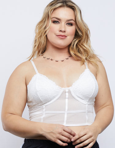Plus Size Sheer Floral Bralette