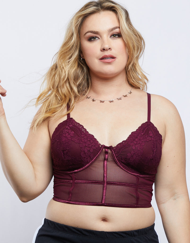 Curve Sheer Floral Bralette Plus Size Intimates Merlot 1XL -2020AVE