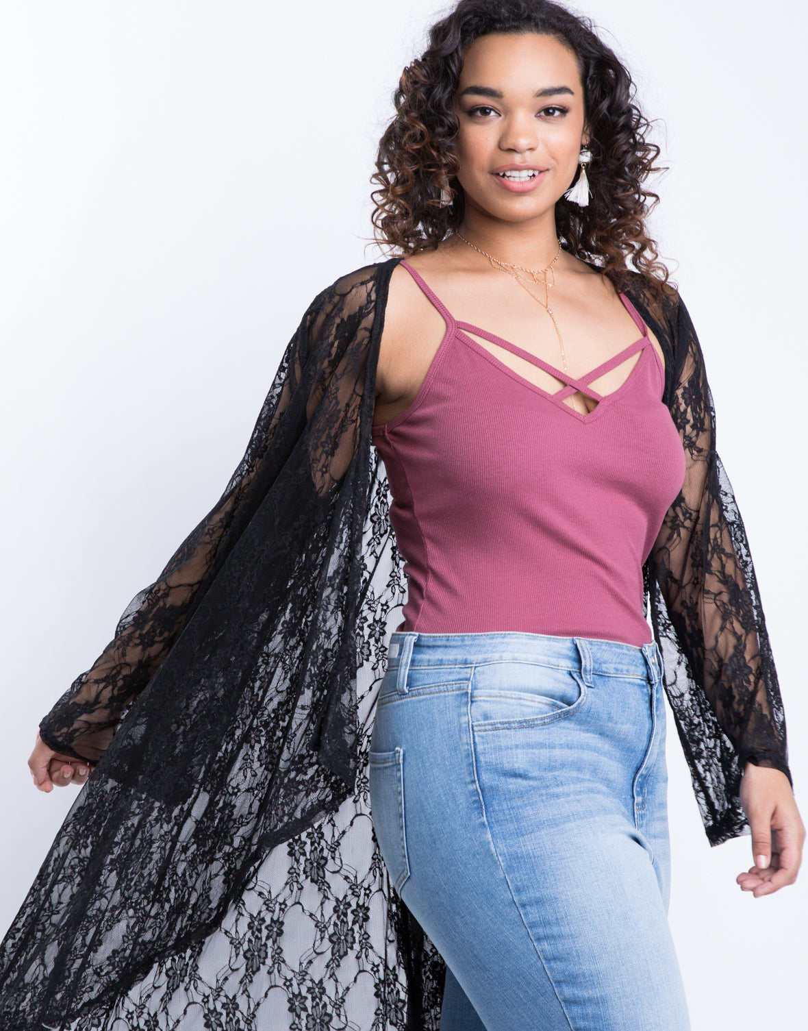 Plus Size Sheer Floral Cardigan