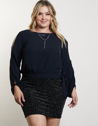 Plus Size Side Tie Top