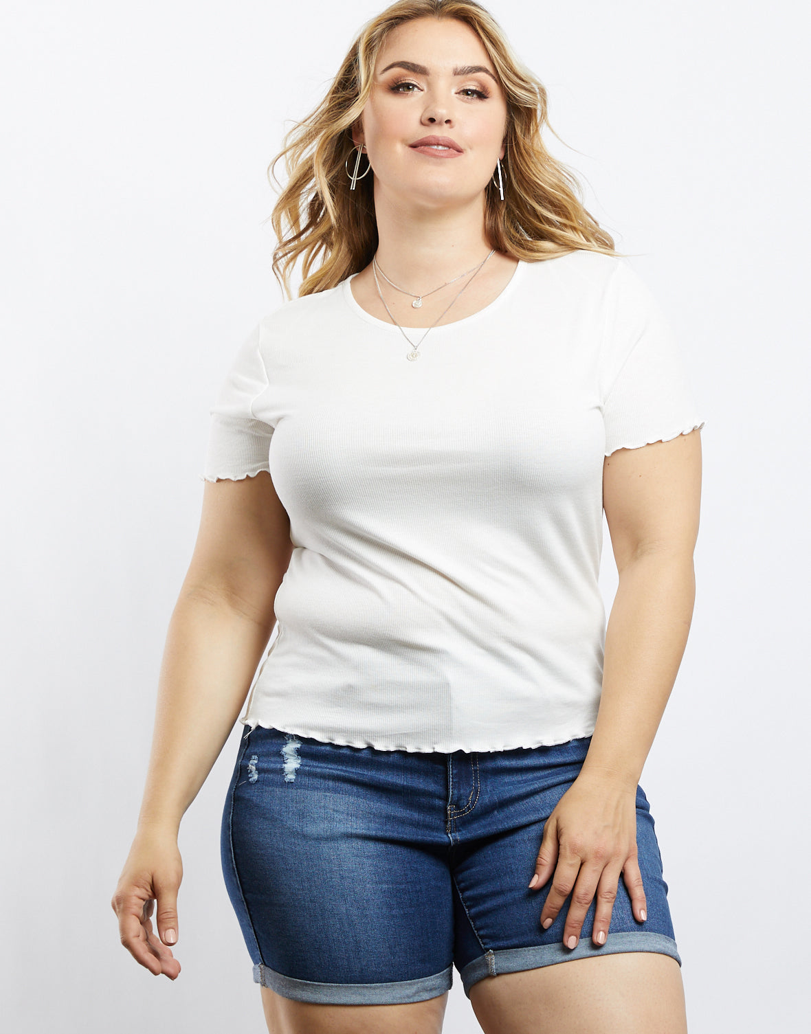 Plus Size Simple And Sweet Lettuce Edge Tee