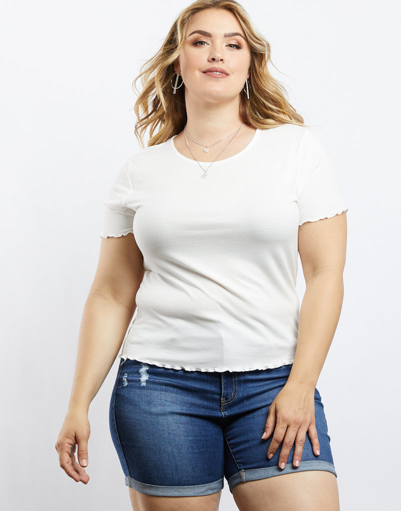 Curve Simple And Sweet Lettuce Edge Tee Plus Size Tops Ivory 1XL -2020AVE