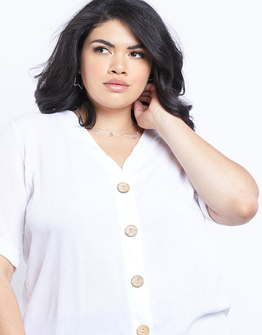 Plus Size Simple As That Button Front Tee
