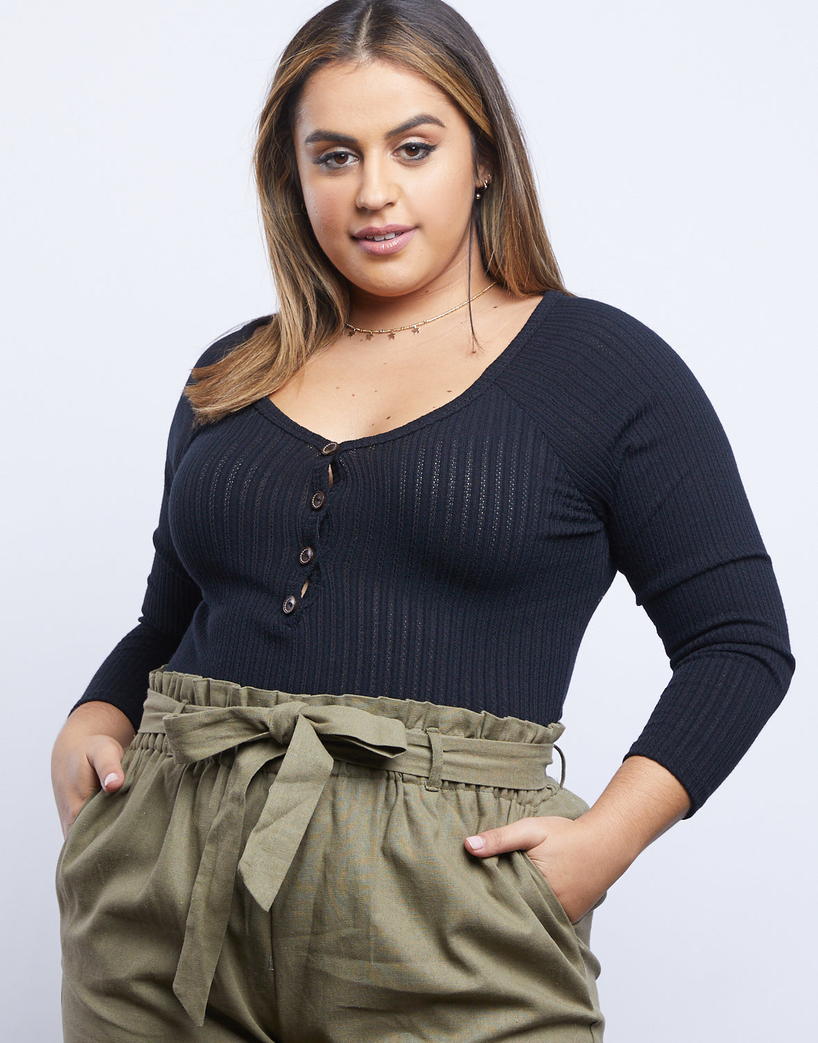 Plus Size Simple Girl Ribbed Shirt