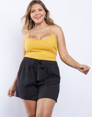Plus Size Simple Living Paper Bag Shorts