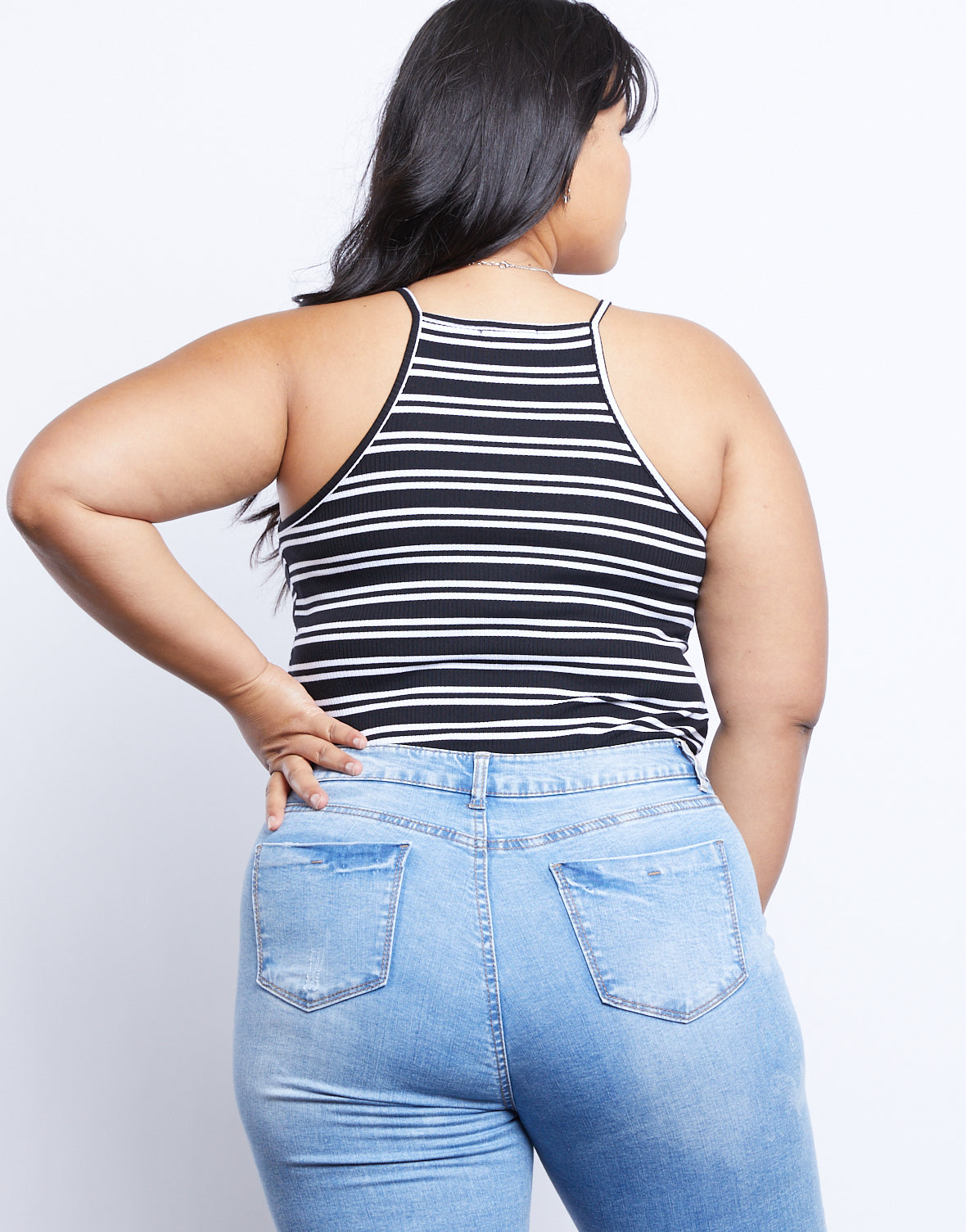 Plus Size Simple Striped Tank