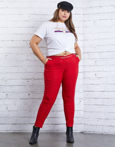 Plus Size Skinny Belted Pants