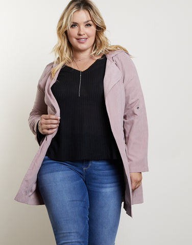 Plus Size Soft Hooded Jacket