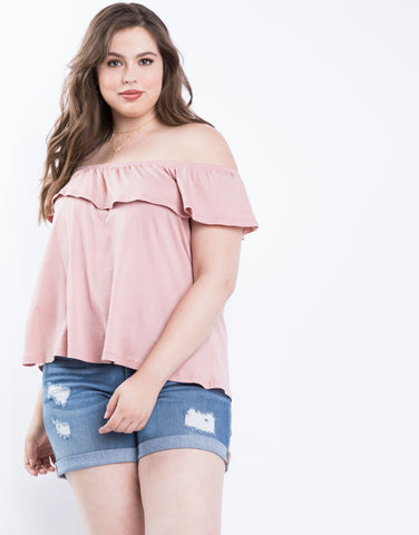 Plus Size Soft Ruffle Top
