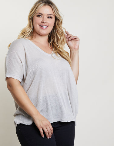 Plus Size Soft Waffle Knit Top