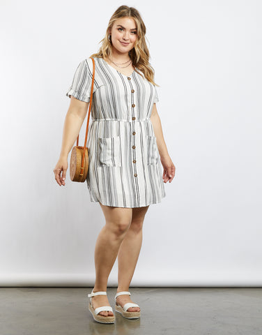 Plus Size Sophie Button Front Striped Dress