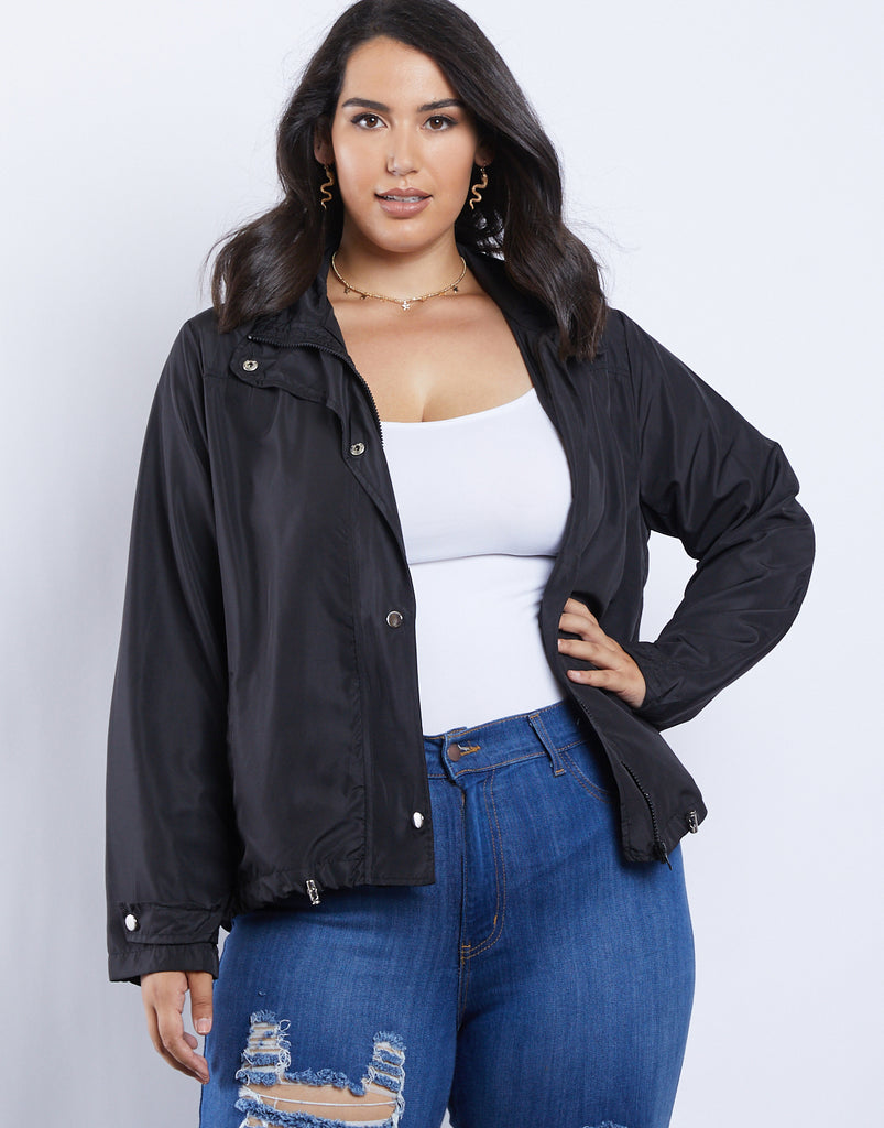 Curve Stormy Nights Windbreaker Plus Size Outerwear -2020AVE