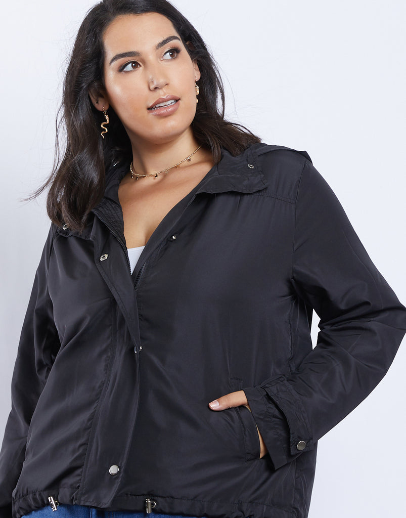 Curve Stormy Nights Windbreaker Plus Size Outerwear Black 1XL -2020AVE