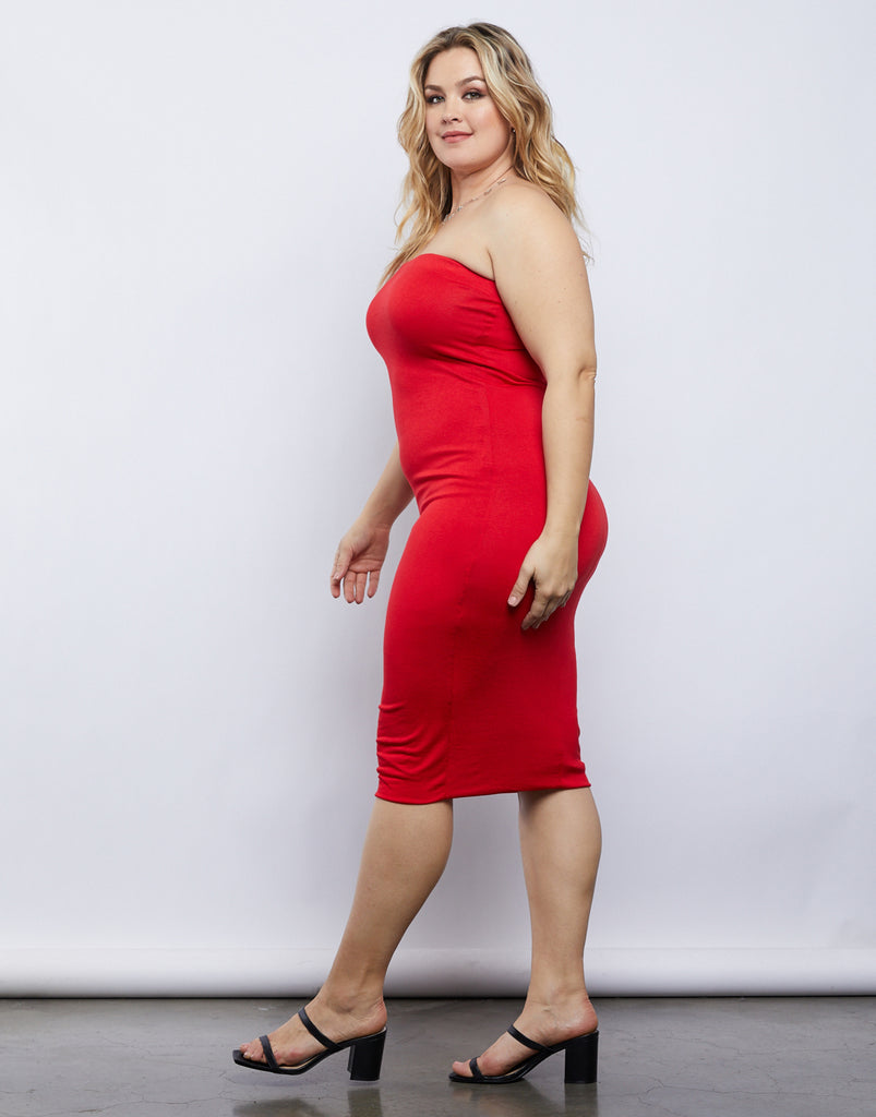 Curve Strapless Bodycon Dress Plus Size Dresses -2020AVE