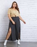 Plus Size Striped Slit Pants