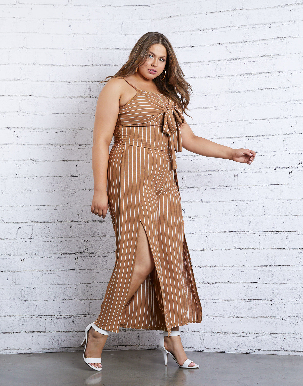 Plus Size Striped Tie Tank