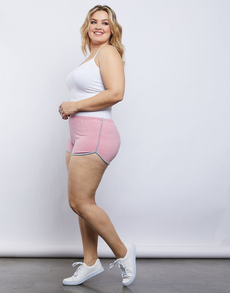 Curve Striped Sporty Shorts Plus Size Bottoms Pink 1XL -2020AVE