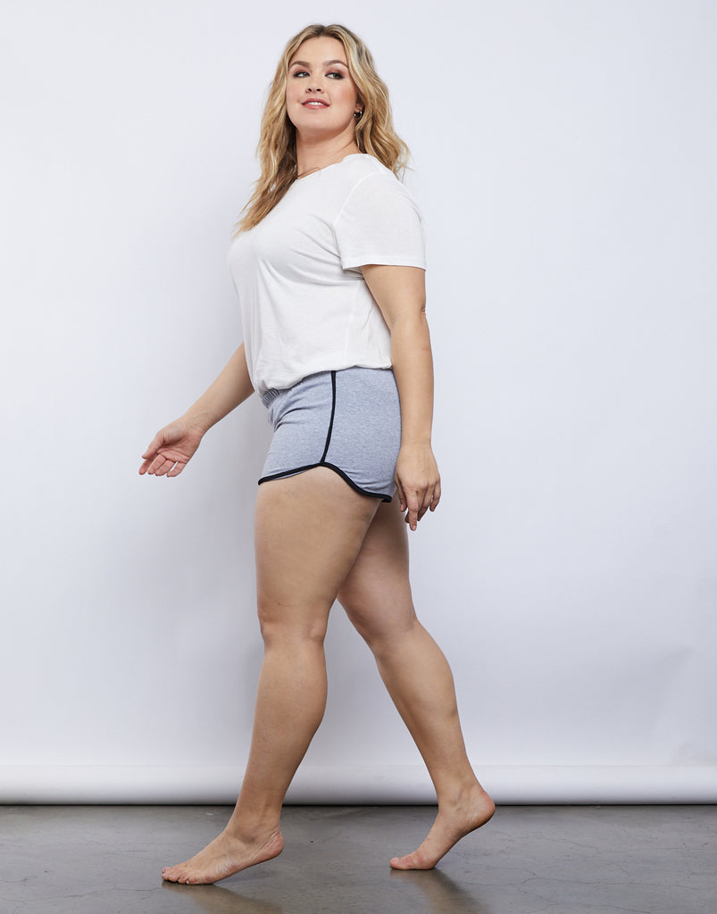 Curve Striped Sporty Shorts Plus Size Bottoms Heather Gray 1XL -2020AVE