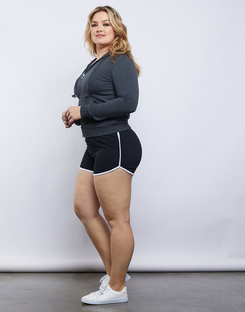 Curve Striped Sporty Shorts Plus Size Bottoms Black 1XL -2020AVE