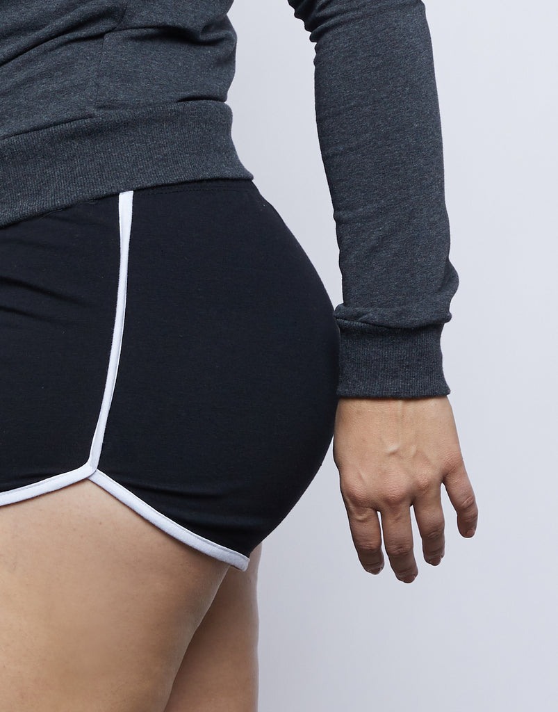 Curve Striped Sporty Shorts Plus Size Bottoms -2020AVE