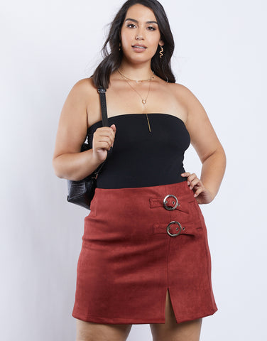 Plus Size Suede Buckle Skirt