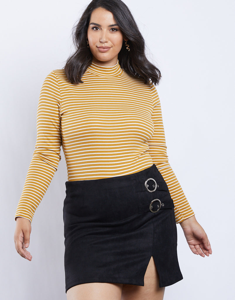 Curve Suede Buckle Skirt Plus Size Bottoms Black 1XL -2020AVE