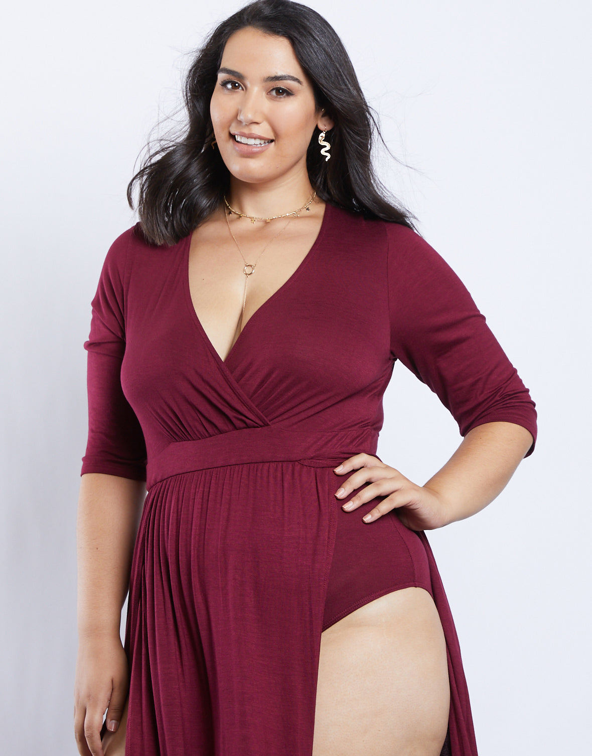Plus Size Sultry Double Slit Dress