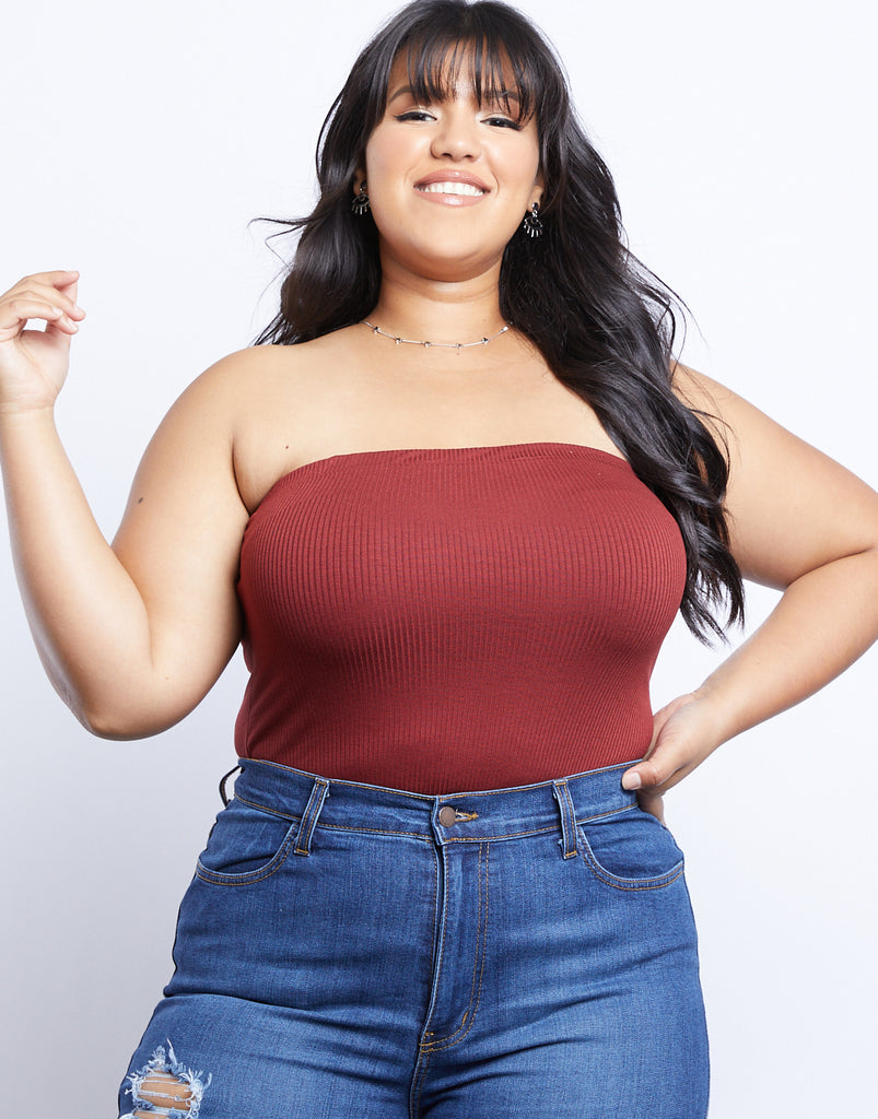 Curve Summer Tube Top Plus Size Tops Brick 1XL -2020AVE